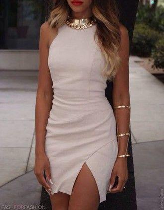 auriculares joyas joyas de oro vestido de raja recorte vestido blanco thighcut blanco corte vestido de joyería vestido bodycon elegante desnuda mini vestido formal,