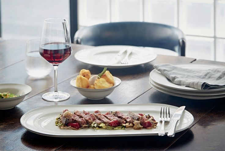 Beef Tagliata is simple yet stylish when served on Gordon Ramsay by Royal Doulton Union Street Cafe.