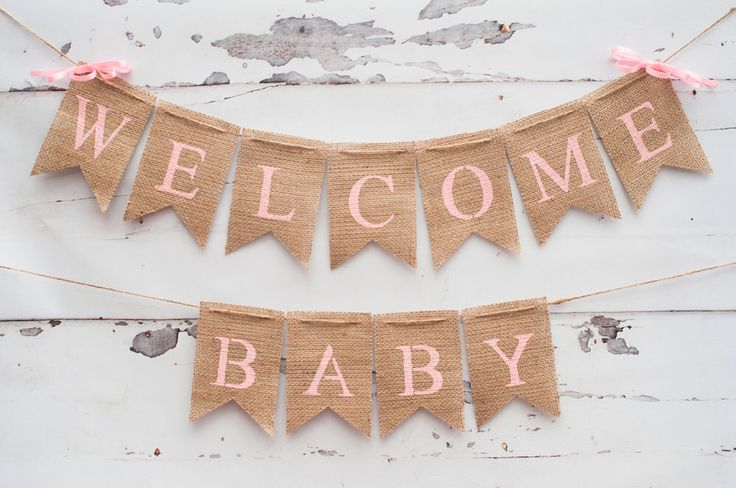 Welcome Baby Banner, Baby Shower Banner, Pink Baby Shower Banner, Welcome Baby Sign, Baby Shower Decor, B104 by SwankyBurlap on Etsy https://www.etsy.com/listing/227682862/welcome-baby-banner-baby-shower-banner