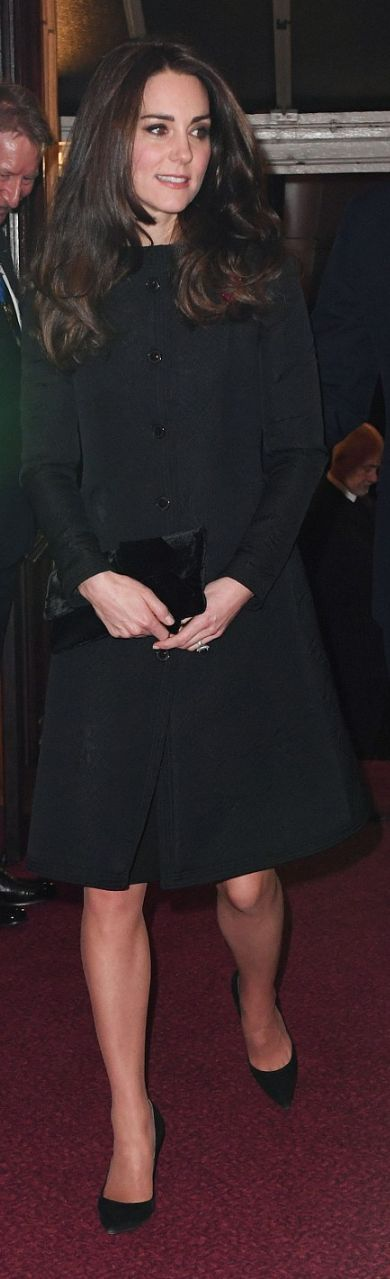 Who made  Kate Middleton's black coat and clutch handbag?