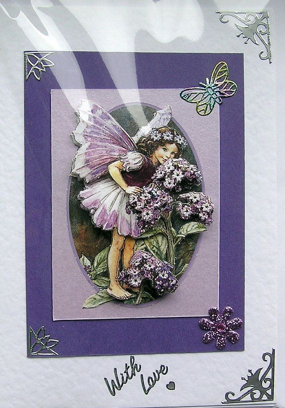 Helitrope Fairy HandCrafted 3D Decoupage Card  by SunnyCrystals, £1.85