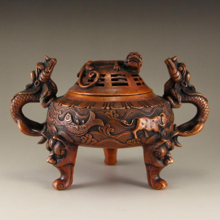 Vintage Chinese Red Copper Double Dragon Incense Burner