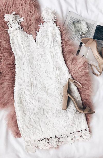 acf98abb3e0a Cute White Lace Sheath Homecoming Dress,Spaghetti Straps Lace Sleeveless  Short Mini Prom Party Dress