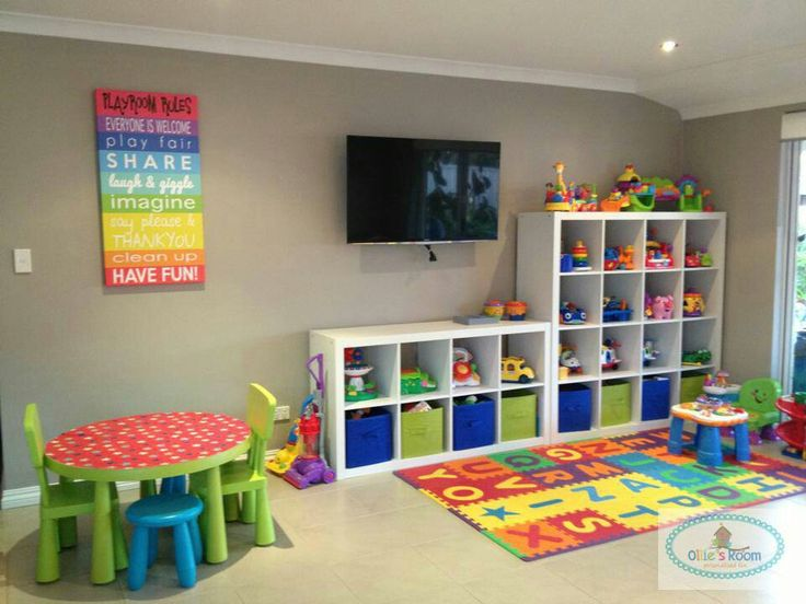 "What a cool play room, maybe I can recreate the ""playroom rules"" art"