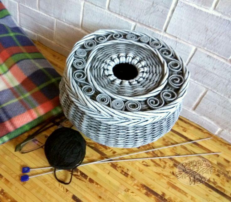 Плетеный горшочек для вязания. Vk.com/paper_web