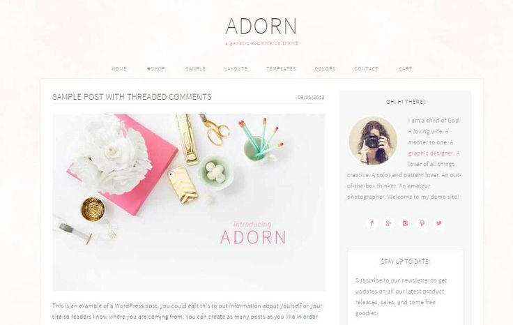 Adorn is a sweet wordpress ecommerce theme!  Features: 6 color schemes to choose from 6 layout options #WooCommerce Ready Footer widgets with ad space Upload your own custom background Upload your own logo #HTML5 Markup + Mobile Responsive   #webdesign,  #wordpress,  #themes,  #plugin,  #cool,  #design http://goo.gl/gt6r38