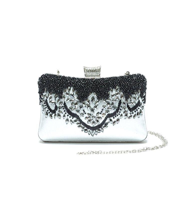 FashionSupreme - Geantă tip plic în argintiu cu mărgele Debra - Accesorii - Genţi - Mangotti - luxul poate fi practic. Haine şi accesorii de marcă. Haine de designer.