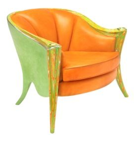 Green - Orange.  Upholstery in leather.