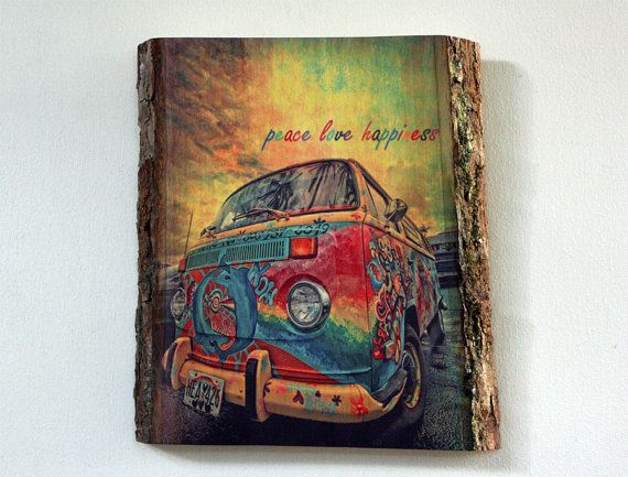 Decorative, Colorful Photo Printed on Wood - Peace Love Happiness - Photo on Wood - Wood Sign with Saying
