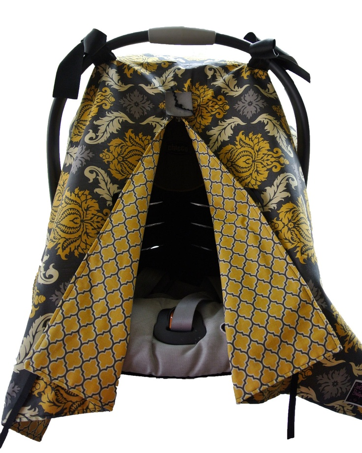 Infant Car Seat canopy cover Cuddler -- MADE to ORDER -- Aviary Damask in Charcoal with Canary