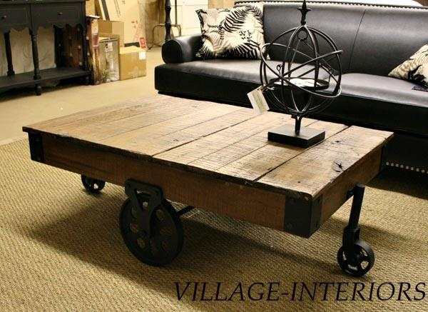 RECLAIMED WOOD INDUSTRIAL RUSTIC COFFEE TABLE CART ON IRON WHEELS | eBay $619