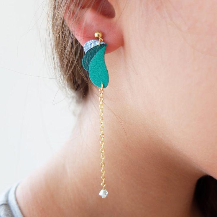 Boucles d'oreilles pendantes Komète en cuir par AkabeParis sur Etsy