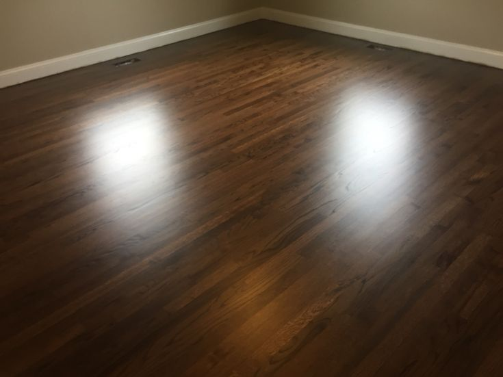Refinished oak flooring with Duraseal dark walnut stain and 3coqts of Pallmann x96 matte finish