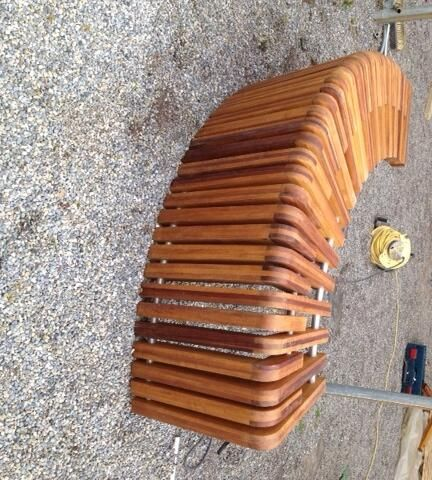 Our Machined Iroko made into a Floating Bench, Oiled and ready for Installation by Doyle Landscapes, nice work!