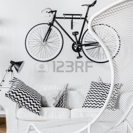 Bicycle in black and white contemporary interior Stock Photo