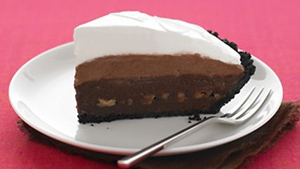 Triple-Layer Mud Pie.  3oz.  BAKER'S Semi-Sweet Chocolate.  1/4cup  canned sweetened condensed milk.  1 OREO Pie Crust (6 oz.).  1/2cup  chopped Pecans, toasted.  2pkg.  (3.9 oz. each) JELL-O Chocolate Instant Pudding.  2cups  cold 2% milk.  1tub  (8 oz.) COOL WHIP.