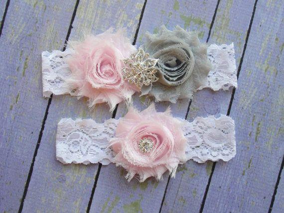 Pale Pink & Grey Garter, Silver Garter, Pink Wedding Garter, Bridal Garter Set, Baby Pink Wedding, Gray Wedding, Leg Garter, Crystal Garter on Etsy, $20.00