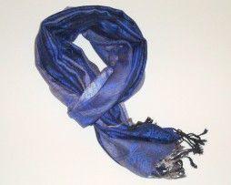 Blauw alumin sjaal met grijze bloemen print