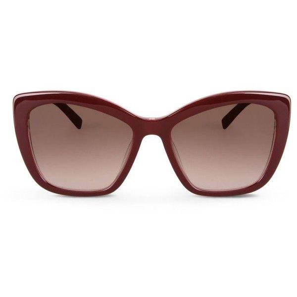 Karl Lagerfeld Chain (1 615 SEK) ❤ liked on Polyvore featuring accessories, eyewear, sunglasses, bordeaux, karl lagerfeld sunglasses, cateye sunglasses, square glasses, logo lens sunglasses and karl lagerfeld eyewear