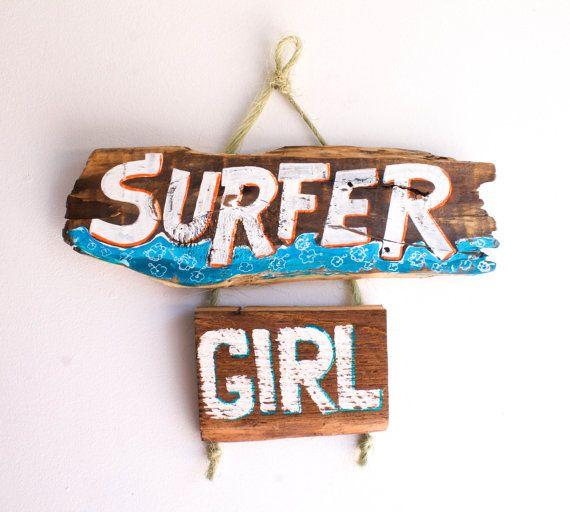Surfer Girl Beach Sign Handmade on Reclaimed Wood Beach Baby Nursery Surfer Kids Room Beach Art Decor Surf Shack Mangoseed by Christina Rowe