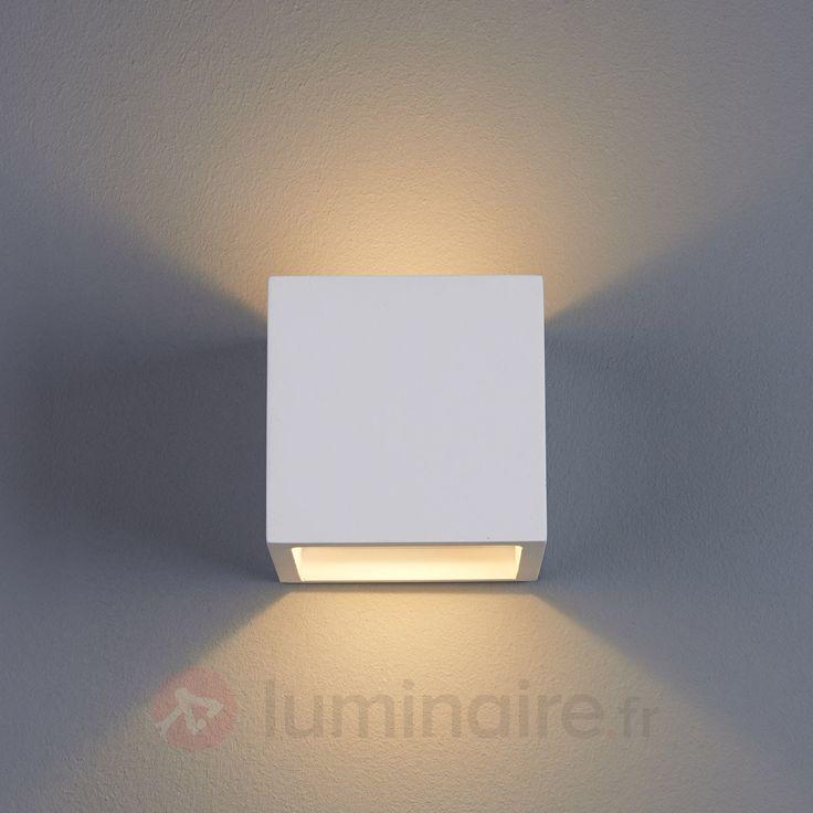 Applique LED Marita en forme de dé en plâtre, référence 9613038 - Lampes et luminaires DIY en plâtre à peindre chez Luminaire.fr !
