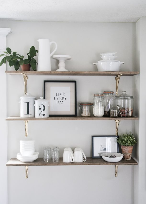 I am SO excited today to share the most recent kitchen update.  We had some open shelving on the plan and completed it this weekend.  I was really eager to see the gorgeous brass brackets from Rejuvenation up on the wall, and they're just as beautiful as I imagined. Although it seems like a pretty …