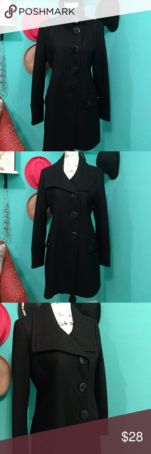 Black Pea Coat M Wool Jacket Large Button Single breasted button down trench coat. Dry clean only. Nice used condition. No stains, Rips or tares. signature studio Jackets & Coats Pea Coats