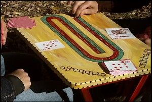 Another TV tray cribbage board with instructions!