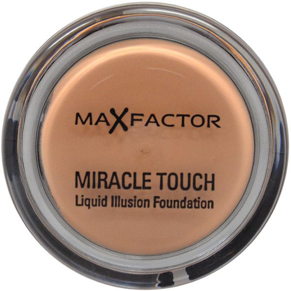 Max Factor Miracle Touch # 65 Rose Beige Foundation ($20) ❤ liked on Polyvore featuring beauty products, makeup, face makeup, foundation, max factor foundation, animal foundation and max factor