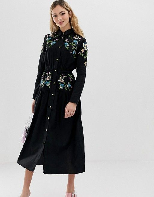6042774065f DESIGN - Robe chemise mi-longue brodée en 2019