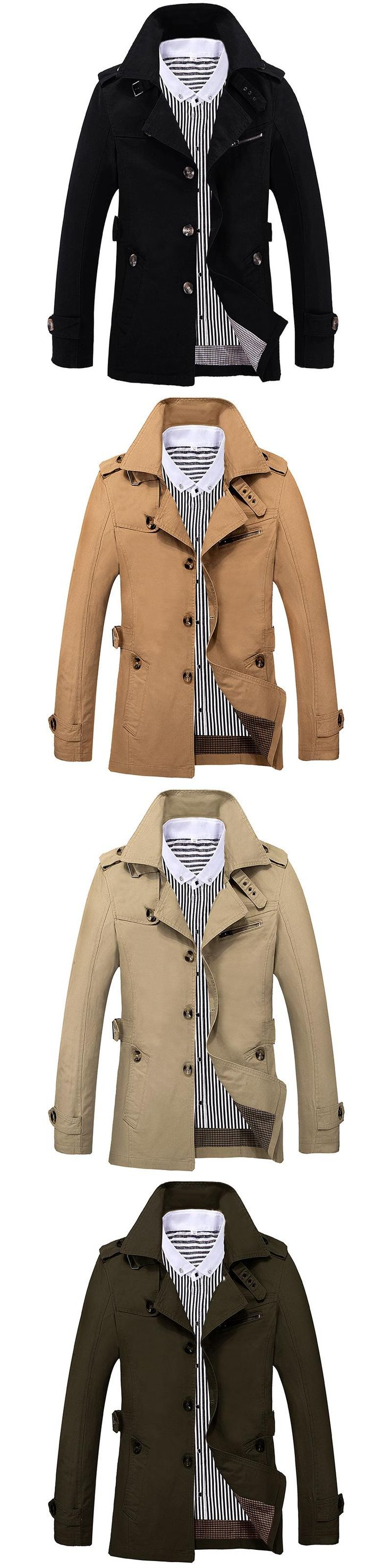 Men Trench  2017 Spring Autumn Fashion Brand Men Jacket Coats Long Overcoat Cotton Jackets Mens Outerwear COTTON Army Jackets