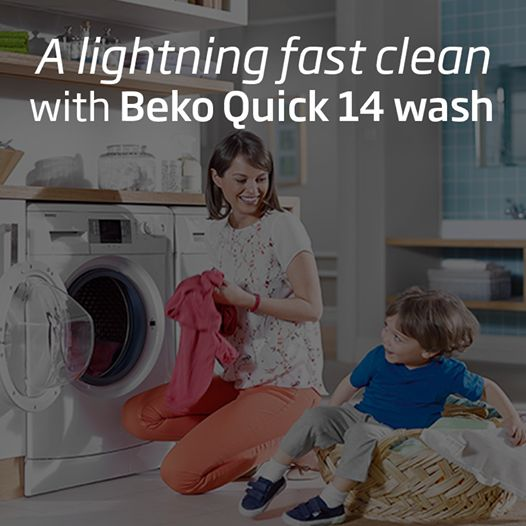 Light loads of laundry will be clean in just minutes with Beko European home appliances. Need clean socks, towels or t-shirts in a flash? This 8kg machine offers the Quick 14 function, a special lightning-fast wash for 2kg loads – start to stop in just 14 minutes.