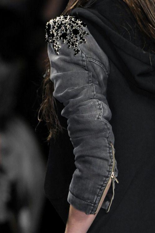 Denim jacket with black crystal embellished shoulders; fashion details // Frankie Morello Fall 2010