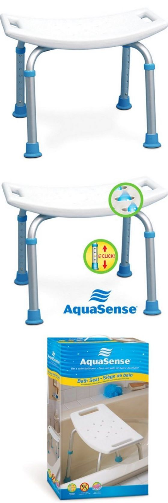 Shower and Bath Seats: Aquasense Adjustable Bath And Shower Chair, Non-Slip Seat Bathroom Safety Bench BUY IT NOW ONLY: $47.52