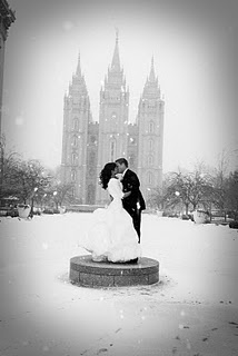 Temple wedding photo - maybe a winter wedding wouldn't be so bad