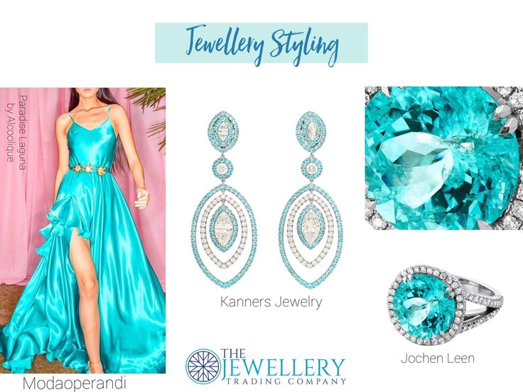 Turquoise Oceans, soothing and calming but this dress is anything but that. Sassy and yet sophisticated the colour is so incredible. Teamed up with the Paraiba Tourmaline - A sensational 9.65ct Paraiba tourmaline ring by Jochen Leen and some chandelier style earrings with Paraiba tourmaline and diamonds from Kanners Family Jewelers. The stunning dress is called Paradise Laguna by Alcoolique. Thanks to @Modaoperandi.