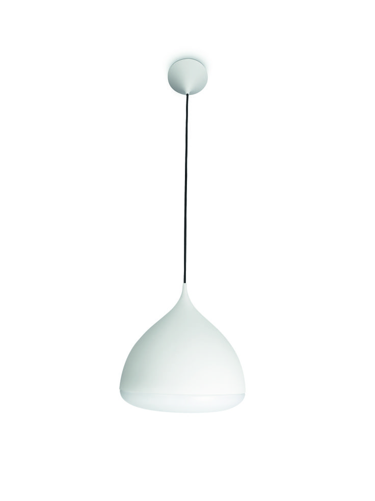 FRIENDS - lampa wisząca w kolorze białym, formą przywodzi na myśl kroplę wody. Stanowi doskonały element centralny wnętrza. Rzuca ciepłe, białe światło, pozwala oszczędzać energię i umożliwia stworzenie nowego wystroju. Wysokość - 205 cm, długość - 30 cm, szerokość - 30 cm #Philips #Lighting #oświetlenie #salonu #jadalni #kuchni