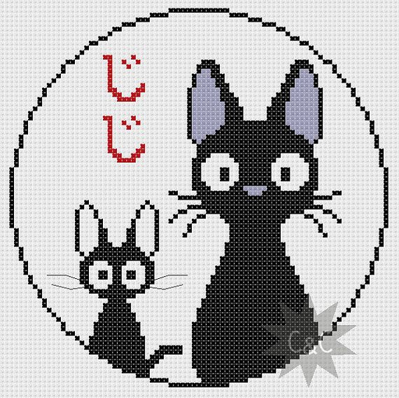 Kiki's Delivery Service (Studio Ghibli) Jiji black cat cross stitch PDF pattern