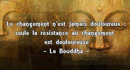 """""""Le changement n'est jamais douloureux, seul la résistance au changement est douloureuse."""" (Bouddha) - #quotes, #citations, #pixword"""