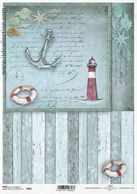 Papier ryżowy R942 - motywy marynistyczne; kotwica, latarnia morska