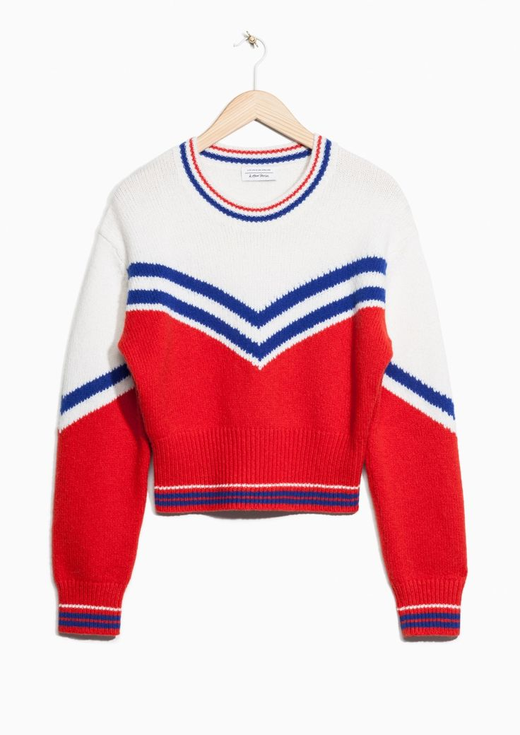 & Other Stories image 2 of Jacquard Varsity Striped Sweater in Red/White/Blue