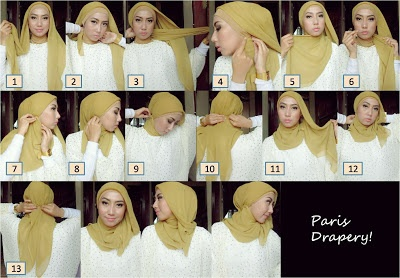 Lastfridaynight: Hijab Tutorial 1 - Paris Drapery :)
