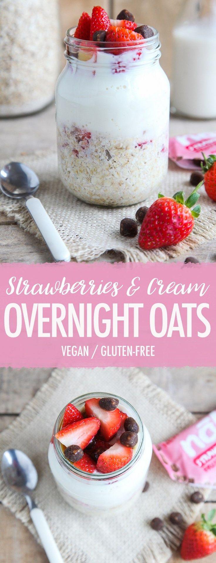 Strawberries Cream Overnight Oats (Vegan GF)