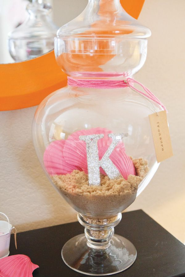 Mermaid Themed Nursery Decor: Sand and Painted Seashells In An Apothecary Jar Decor