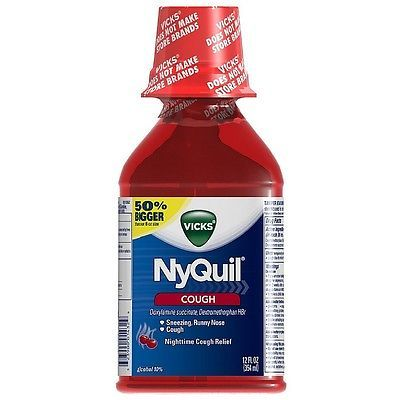 Cough Cold and Flu: Vicks Nyquil Nighttime Cough Relief Liquid, Cherry 12 Oz (Pack Of 8) BUY IT NOW ONLY: $68.44