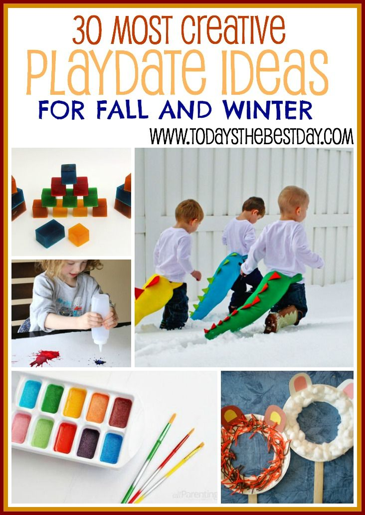 30 MOST CREATIVE PLAYDATE IDEAS - For Fall And Winter! LOVE these fun ideas for toddlers and children!