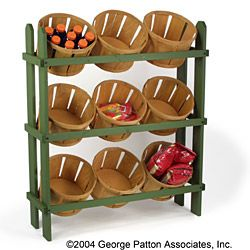 Wood Display Baskets perfect for bulk products or other assorted items! This wood basket display is rugged and perfect for a country-theme store!