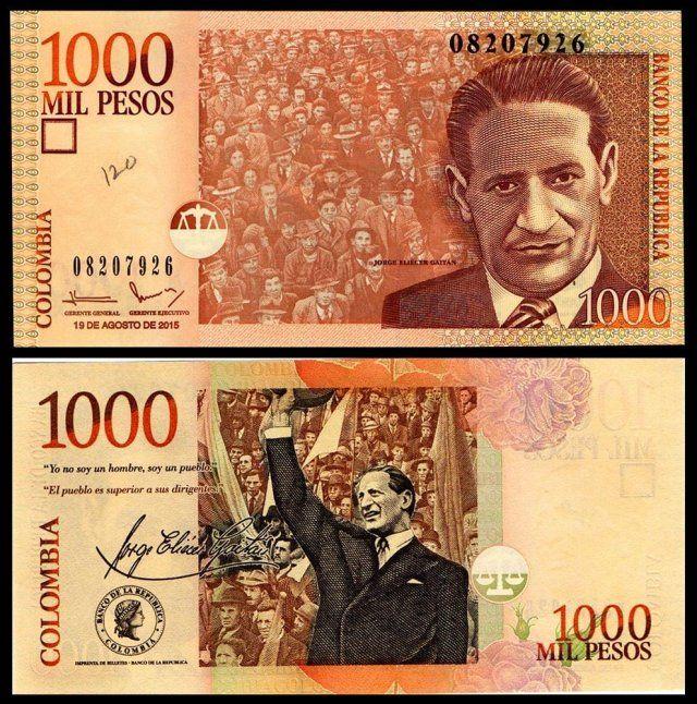 Colombia 1000 Mil Pesos Jorge Gaitan Banknotecoinstamp Com Moedas Mundiais Moedas Raras Cedulas Brasileiras