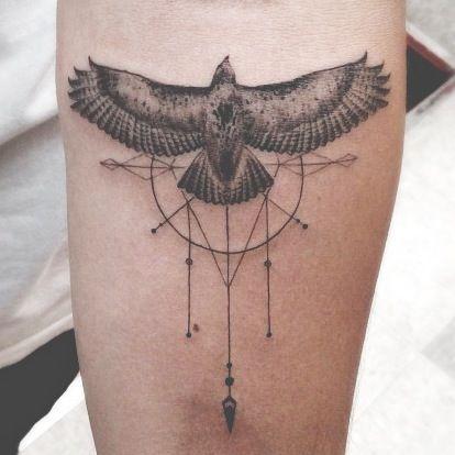 My most recent tat. Done by Dr Woo from Shamrock Social Club in LA. #geometrictattoo #hawktattoo #detailedtattoo