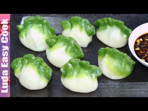 Китайские ПЕЛЬМЕНИ на пару Вкусные ЦВЕТНЫЕ ПЕЛЬМЕНИ рецепт  - Spinach Green Dumpling làm Bánh há cảo - YouTube